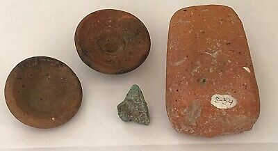 ANCIENT GREEK BOWLS FRAGMENT STONE LOOM WEIGHT LOT POTTERY BRONZE 4 pc AUTHENTIC
