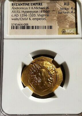 Byzantine Empire Andronicus II & Michael NGC AU 4/4 Ancient Gold Coin