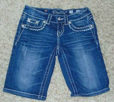 GUC-Jr Girls Miss Me Blue Embellished Distressed Denim Jean Bermuda Shorts-sz 24