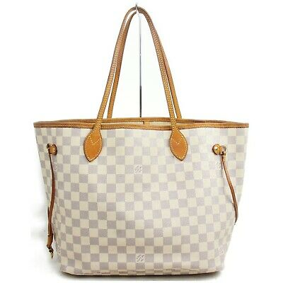Authentic Louis Vuitton Tote Bag Neverfull MM N51107 Whites Damier Azul 401164