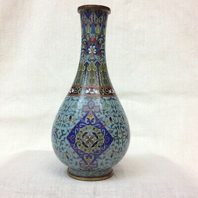 Antique Chinese Qing Cloisonne Enamel Brass Copper Vase Bottle Gilt