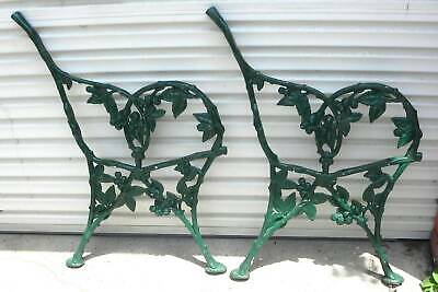 Ornate  Antique Cast Iron Grapes Leaves Pattern Bench Ends