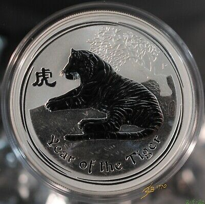 2010 Perth Mint 1 Ounce Lunar Coin, Series 2, Year of the Tiger .999 Silver.
