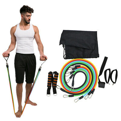 11pcs Set Resistance Bands Fitness Stretch Workout Bands Muscle Training Rope