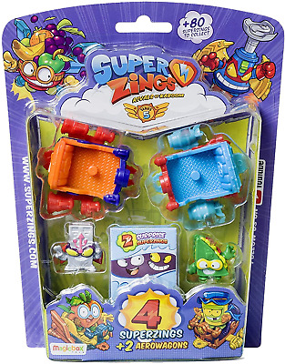Superzings - Series 5 - Blister AeroWagon with 4 figurines  1 silver + 2
