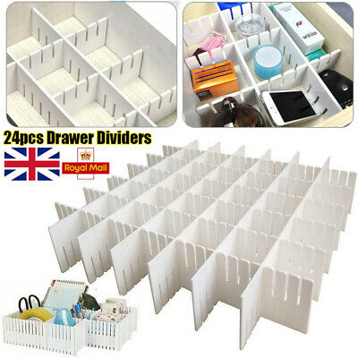 24pcs Adjustable Clapboard Drawer Divider Partition Storage Organiser Wardrobe