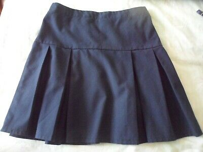 Girls Age 16 Debenhams navy blue short smart pleated school skirt elasticated
