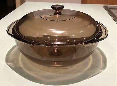 Pyrex Smoke Glass Casserole Dish With Lid Oven Microwave 21cm Diameter