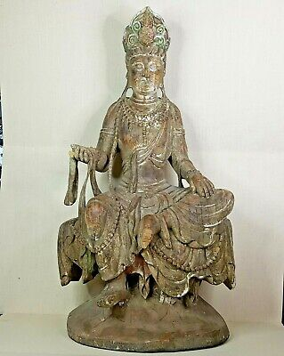 Antique Chinese wooden Guanyin. 18th-19th century.