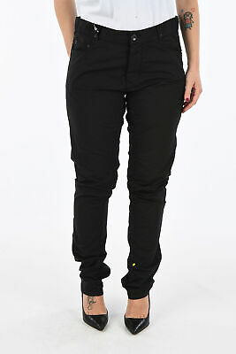 RICK OWENS women Trousers TORRANCE Black Straight Pants Sz 28 Five Pockets Bl...