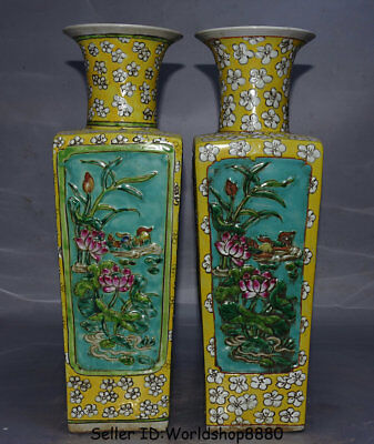 "19.2"" Daoguang Marked Old China Wucai Porcelain Flower Birds Bottle Vase Pair"