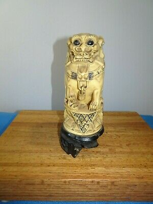 Antique Chinese Carved Soapstone Statue of Group of Foo Dogs Signed?