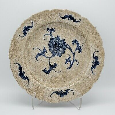 Signed Antique 19th Century Chinese Blue Floral Plate Bowl w/ Chenghua Mark