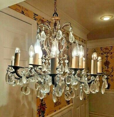 Vintage Ornate 16 Light Brass Spain Chandelier w Crystals 96 pair! French