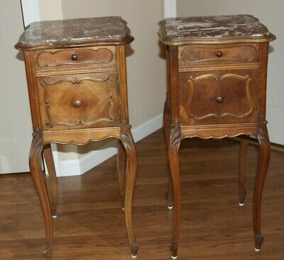Antique Louis Xv French Style Walnut Marble Top Night Tables /End Tables Stand