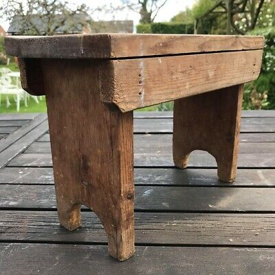 Rustic little French Wooden Pine Stool