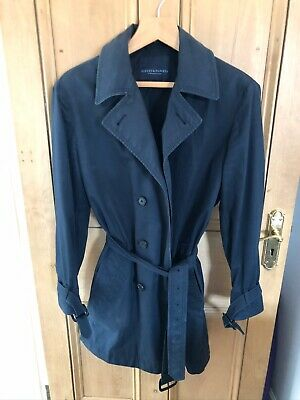 Gieves and Hawkes Double Breasted Belted Raincoat Mac Black 40R Made In Italy