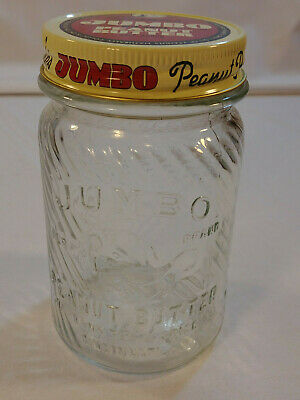 JUMBO 1 LB Peanut Butter Jar w/ Frank's LID Glass Bottom ACCEPT NO SUBSTITUTE