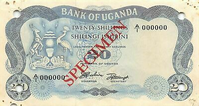 Uganda  20/-   ND. 1966  P 3s  Series  A/1  Specimen Circulated Banknote G10d