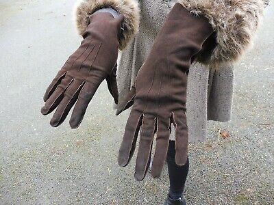 Vintage 1940's brown suede gloves marked with CC41 utility mark size 7 1/2