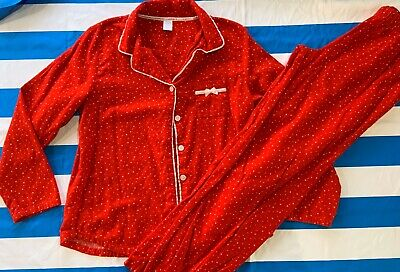 Womens Liz Claiborne 2 Pc Red 100% Cotton Flannel Pajama Set Size M Long Sleeves
