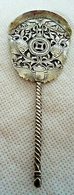 ANTIQUE CHINESE c1900 SOLID SILVER MINIATURE FAN / SPOON (MOTH & FISH MOTIF)