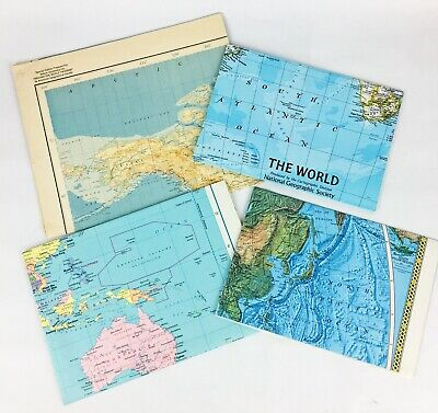 4 Vintage World Maps & Pamphlets National Geographic *FREE SHIPPING*