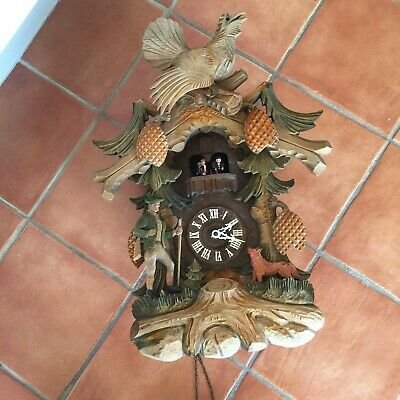 Anton Schneider  Cuckoo Clock Hunter & Fox Large Black Forest Rare Soehne