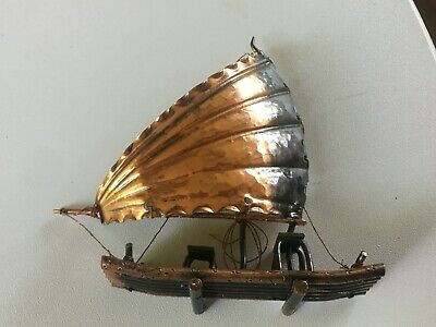 Rare Amazing Primitive Handmade Hammered Copper/Brass-BOAT/SAILBOAT Folk Art 6X6