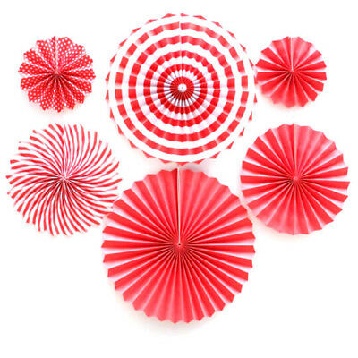 Red 6x Paper Fan Flowers Wedding Birthday Party Tissue Paper Table Decoration