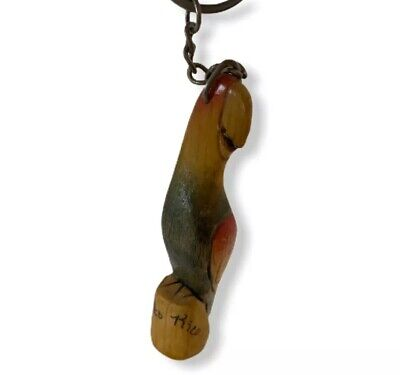 """Vintage Parrot Keychain Puerto Rico 3.25"""" Collectible Wood Carved Hand Painted"""