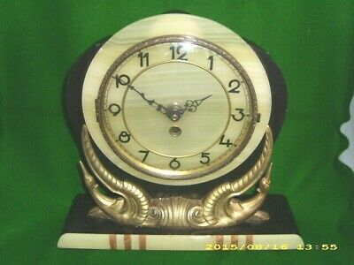 Beautiful French Art Deco Clock With Modernist Movement In Polished Marble Case.