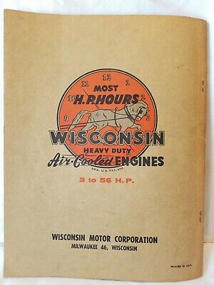 WISCONSIN Air Cooled Heavy Duty ENGINES Instruction Parts List MODELS ACN BKN