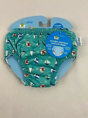 I Play Reusable Absorbant Swimsuit Diaper Aqua  Sailboat  6 months 10-18 lbs