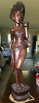 Vintage Mahogany Hand Carved Lady Sculpture Artist Piece 38'' H