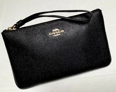 COACH F57465 BLACK Crossgrain Leather Large Zip Wristlet Wallet Organizer Clutch