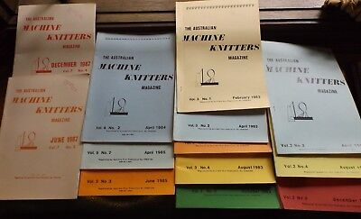 """13 Of """"The Aust Machine Knitters Magazine"""" 1982 -1987  Exc Cond I Will Post"""