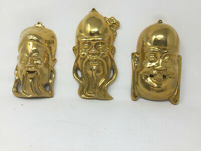 """3 Brass Oriental Ancient Wise Men Face Wall Hanging Plaques ea appx 7"""""""