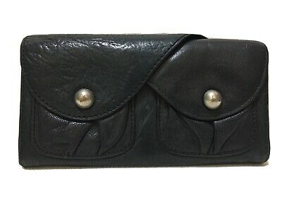 MIMCO - Flap-over Black Leather Wallet with Silver Buttons