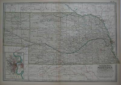 Original 1897 Map of Nebraska by The Century Co,