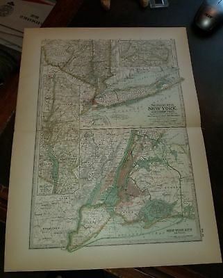 Original 1897 Map of New York Southern Part by The Century Co,