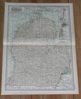Original 1897 Map of Michigan Southern Part by The Century Co,