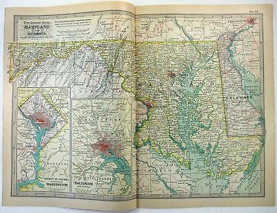 Original 1897 Map of Maryland, Delaware, and D.C.by The Century Co,