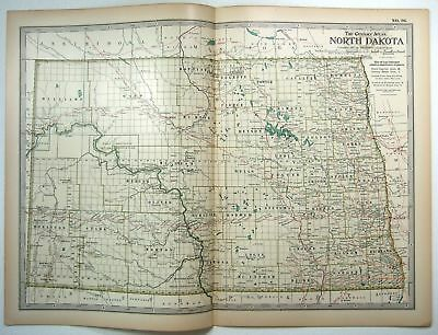 Original 1897 Map of North Dakota by The Century Co,