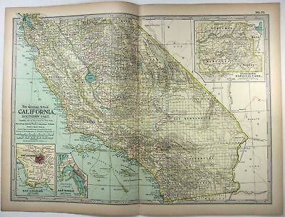 Original 1897 Map of California, Southern Part by The Century Co,
