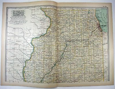 Original 1897 Map of Illinois Northern Part by The Century Co,