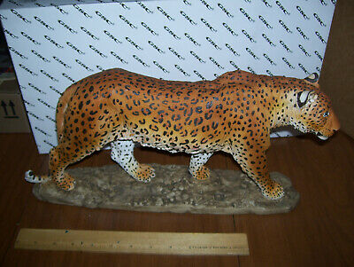Large big beautiful resin leopard animal statue figurine 16 inches long LEOPARD