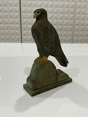 Vintage Antique Folk Art Carved Painted Wood Bird Figurine Statue Owl ??
