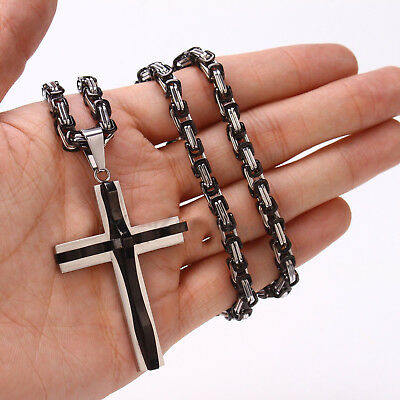 Men Silver Black Stainless Steel Religious Cross Pendant Byzantine Necklace 22""