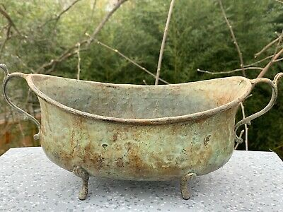 Antique Grecian Vanity Bowl Boudoir Venetian Footed Compote Scroll Patina ❤️sj8j
